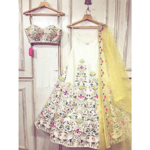 Latest White Color Digital Prints Lehenga Choli For Girls