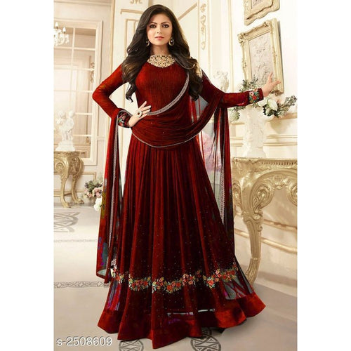 Stylish Sangeet Special Maroon Color Gown For Girls