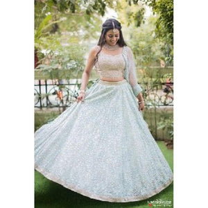 Stylish Festival Wear Lite Blue Color Lehenga Choli