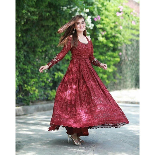 Designer Festival Wear Maroon Color Gown