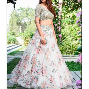 white organza silk digital printed lehenga choli