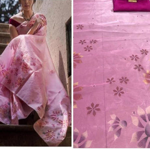 Stunning Pink Colored  Saree With Flower Print