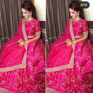 Trending Ceremonial Wear Rani Color Lehenga choli
