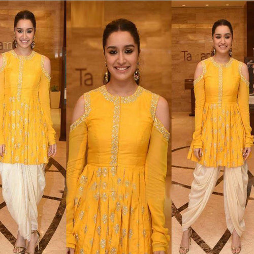 Trendy Yellow And Cream Color Dhoti Suit For For Womans