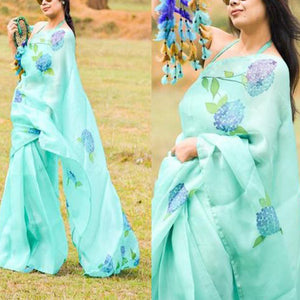 Classic Sky Color Orgenja Saree With Blue Blouse