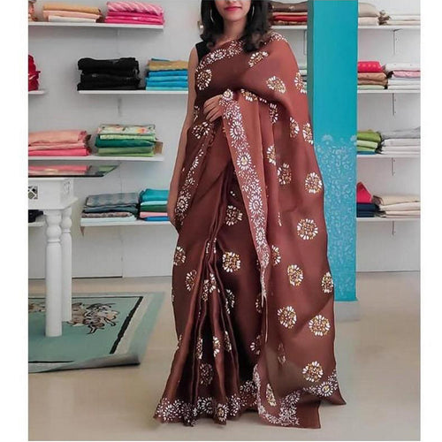 Cute Brown Digital Printed Designer Saree