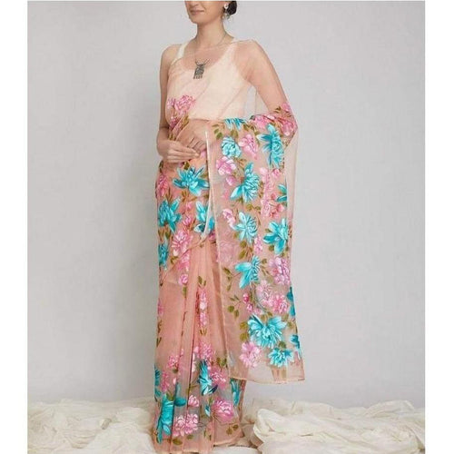 Decent Peach Color Saree With Heavy Digital Print