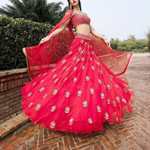 Trending Pink Colored Lahenga Choli With Embroidery For Grils