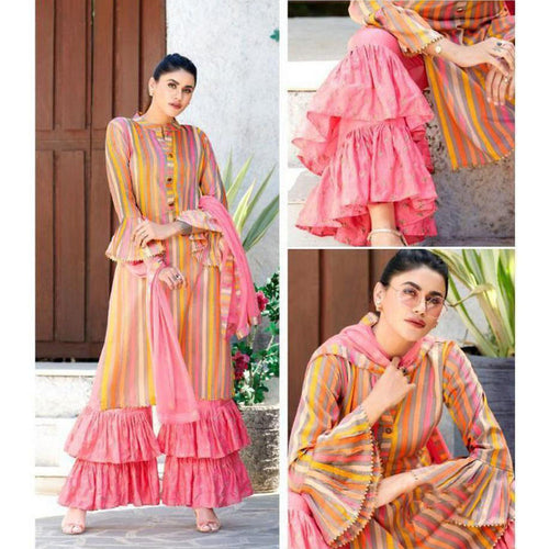 Designer Pink Color Party Wear Sarara Suit