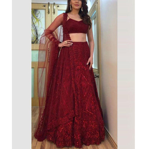 Beautiful  Maroon Color With Embroidery Work Lehenga Choli For Girl