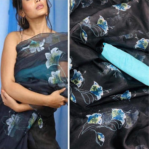 Stylish Organza Saree With Blouse In Black Color