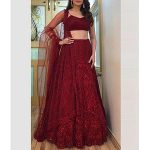 Stylish Red Attractive Party Wear Designer Lehenga Choli For Girls