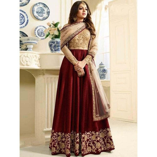 Fancy Ceremonial Wear Red Color Party Wear Gown