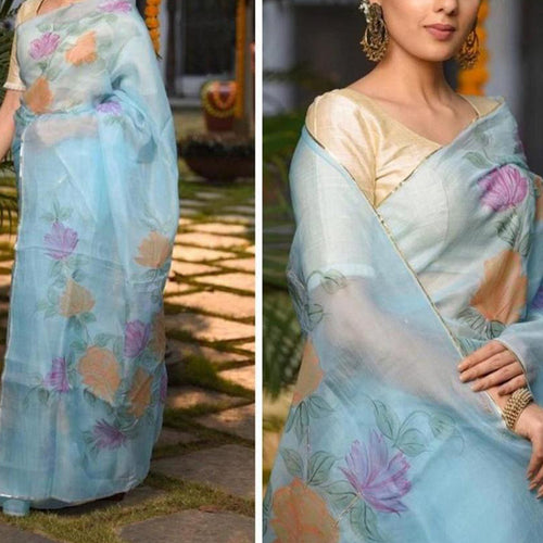 Fancy Sky Blue Organza Saree With Flower Print For Womans