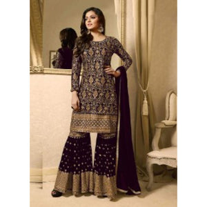 Stylish Semi Stitched Purple Wedding Wear Sarara Plazo Suit