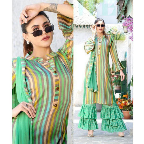 Fancy Sea Green Color Party Wear Sharara Suit For Girls