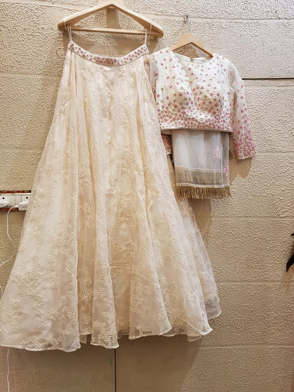 White and pink floral lehenga