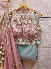 Load image into Gallery viewer, Pink Net Lehenga Set