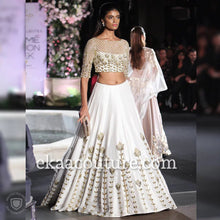 Load image into Gallery viewer, White and gold silk lehenga