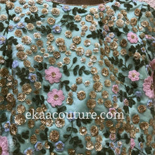 Load image into Gallery viewer, Mint and Mauve net lehenga