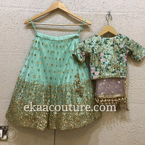 Mint and Mauve net lehenga