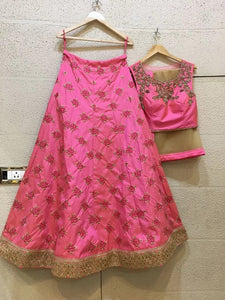 All over embroidery lehenga in silk