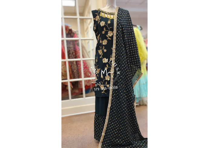 Black Sharara Set - Black Kurta and Sharara | Moharbyec