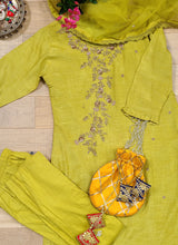 Load image into Gallery viewer, Lime green straight pant silk suit