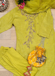 Lime green straight pant silk suit