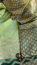Load image into Gallery viewer, Forest Green Khaddi georgette Benarasi weave with checkered Blouse
