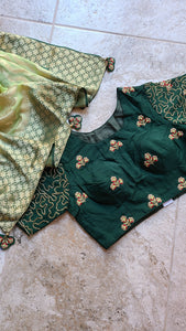 Forest Green Khaddi georgette Benarasi weave with checkered Blouse