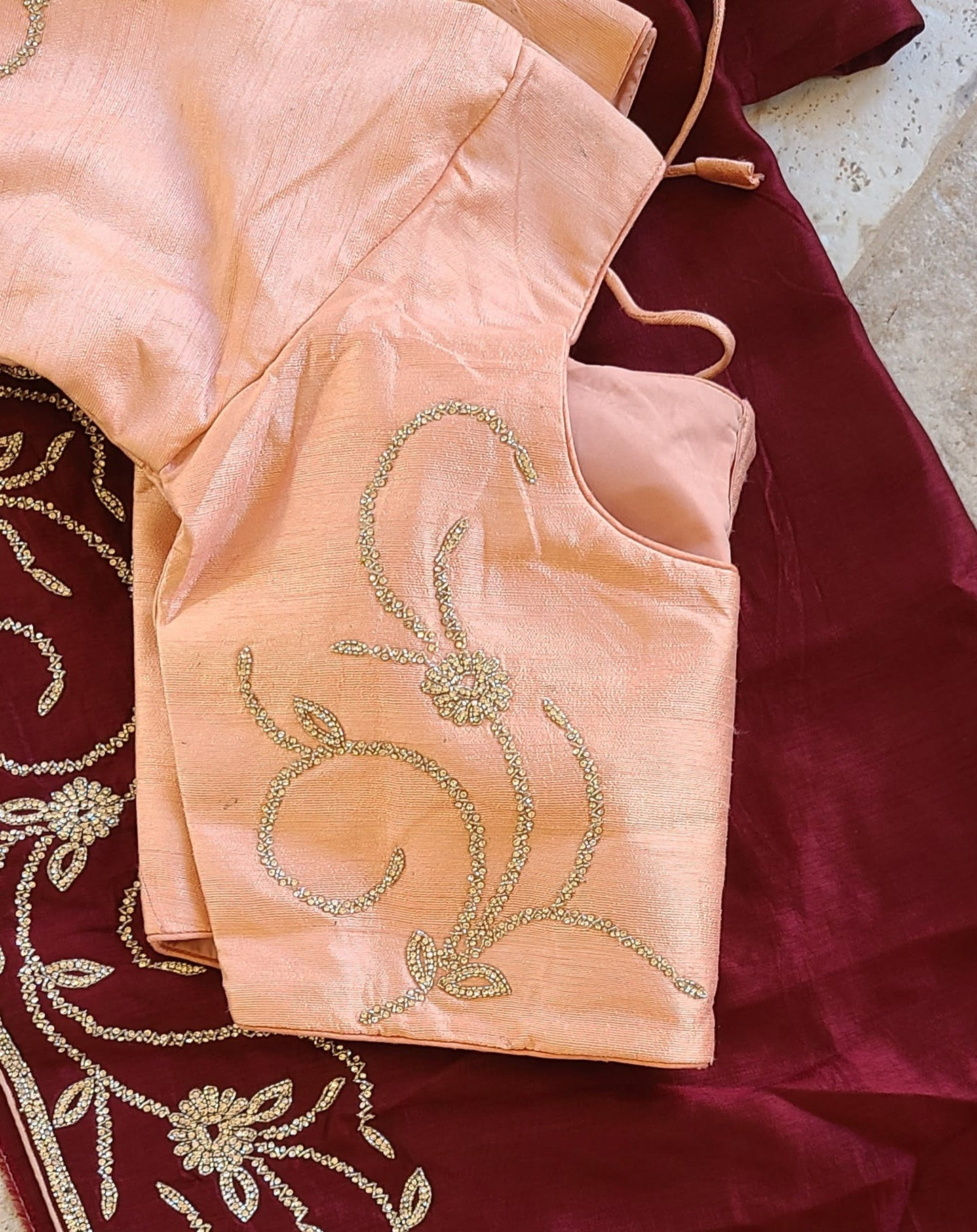 Silk cocktail party Saree and blouse set