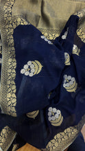 Load image into Gallery viewer, Royal Blue Khaddi Georgette Benarasi Saree and Blouse
