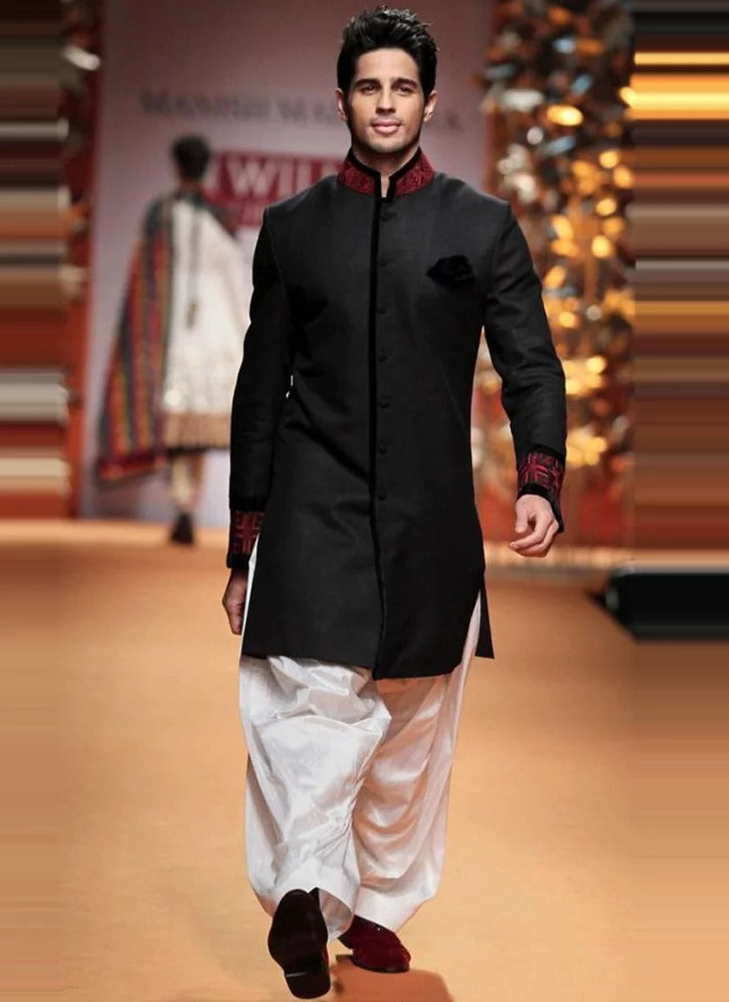 Black Short Jodhpuri  with Dhoti 1046