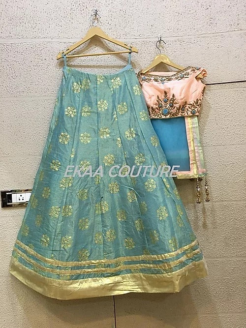 Blue Pink Benarsi Lehenga off shoulder blouse PL18020-38