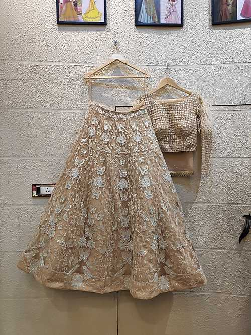 Champange Net and Sequence Lehenga