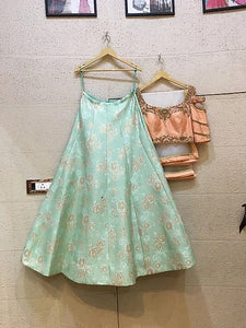Brocade sea green lehenga
