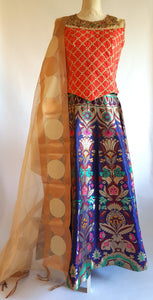 Benarsi brocade Blue and Red Crop top and skirt - EC 23013