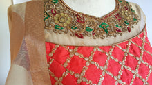 Load image into Gallery viewer, Benarsi brocade Blue and Red Crop top and skirt - EC 23013
