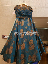 Load image into Gallery viewer, Blue Jaquard Lehenga PL18004-38
