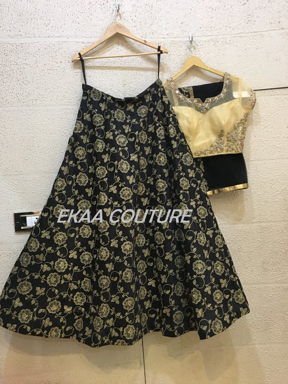 Black and gold Jaquard Lehenga cold shoulder PL18008-38