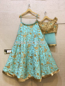 Blue embroidered Lehenga off shoulder blouse PL18023-38