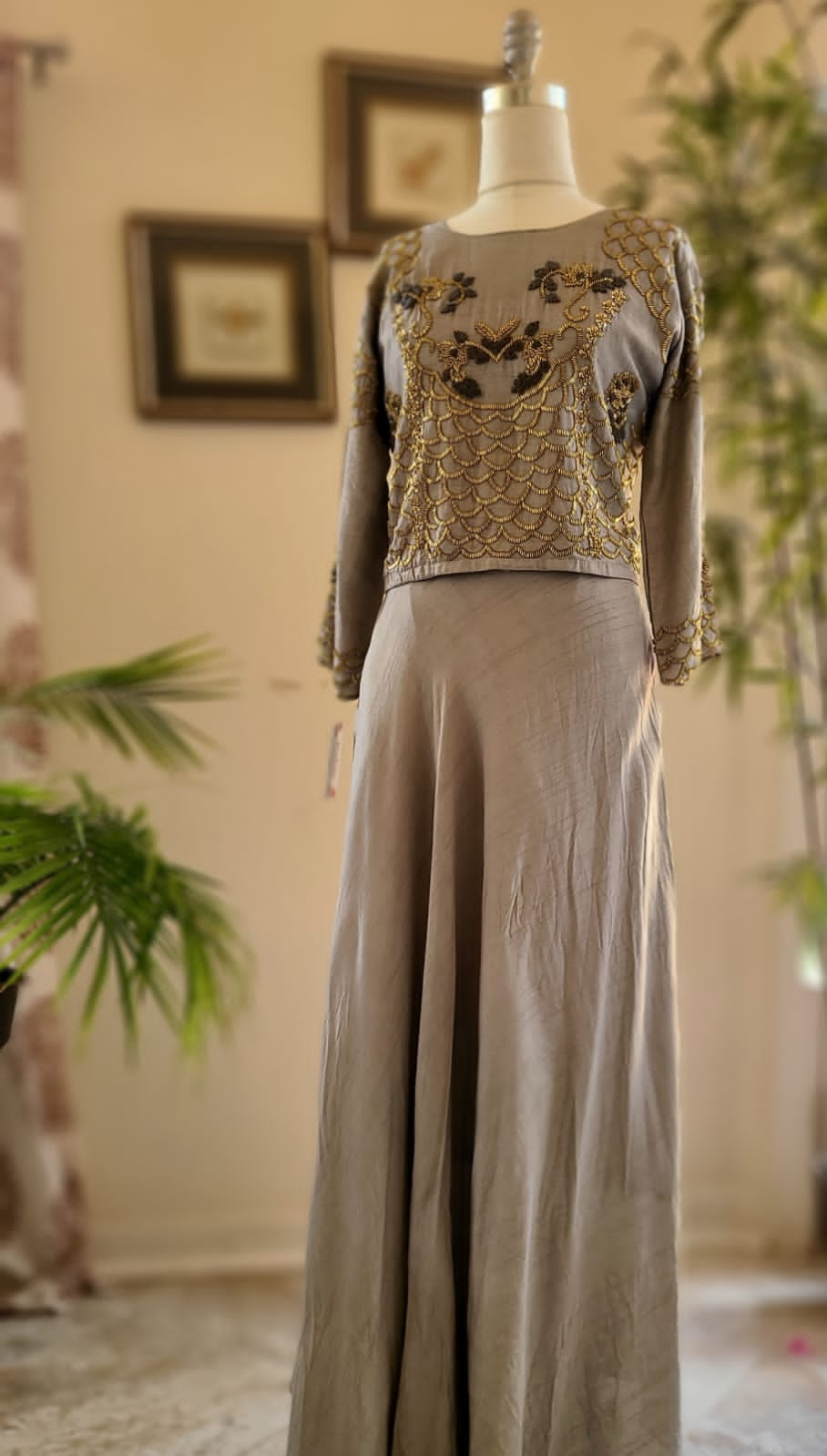 Raw silk indo western skirt and crop top set