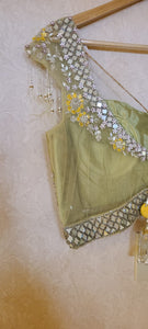 Sequenced lehenga set with frill dupatta