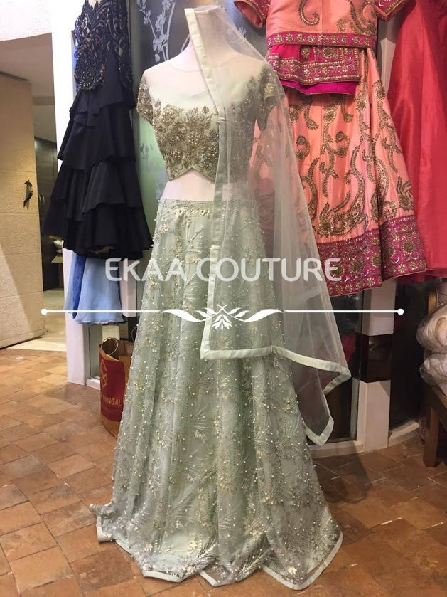 Pastel Green Net lehenga with Pearl