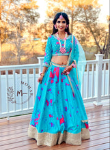 Load image into Gallery viewer, Mirror work tie-dye lehenga