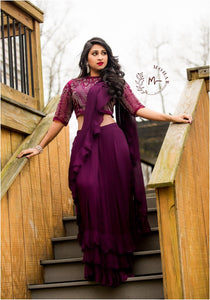 Gorgeous purple ruffle saree in georgette.
