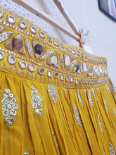Load image into Gallery viewer, Yellow offshoulder sangeet lehenga