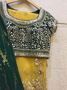 Bottle green Georgette lehenga with gota patti blouse