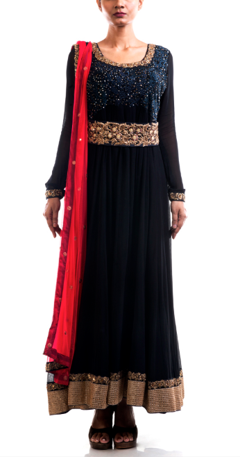Embroidered Black Suit - Black Belt Anarkali Suit | Moharbyec